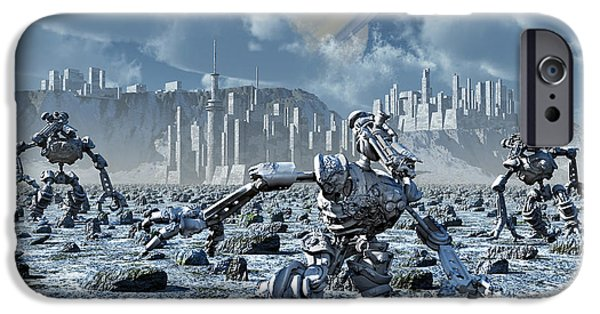Virtual iPhone Cases - Robots Gathering Rich Mineral Deposits iPhone Case by Mark Stevenson