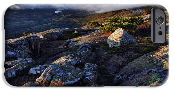 Maine iPhone Cases - Rock and Fog iPhone Case by Rick Berk