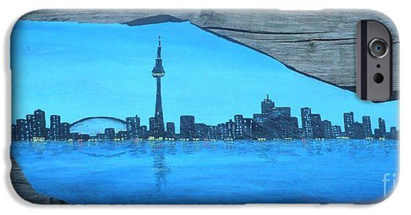 Business Paintings iPhone Cases - Rock painting-toronto cn tower skyline iPhone Case by Monika Shepherdson