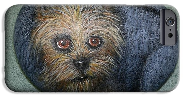 Puppies Sculptures iPhone Cases - Rock Painting-Yorkie iPhone Case by Monika Dickson-Shepherdson