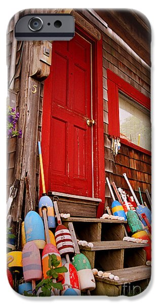 Clapboard House iPhone Cases - Rockport Buoys iPhone Case by Joann Vitali