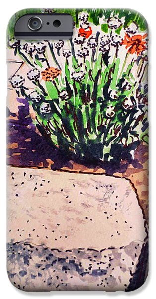 Brick Paintings iPhone Cases - Rocks and Flowers Sketchbook Project Down My Street iPhone Case by Irina Sztukowski
