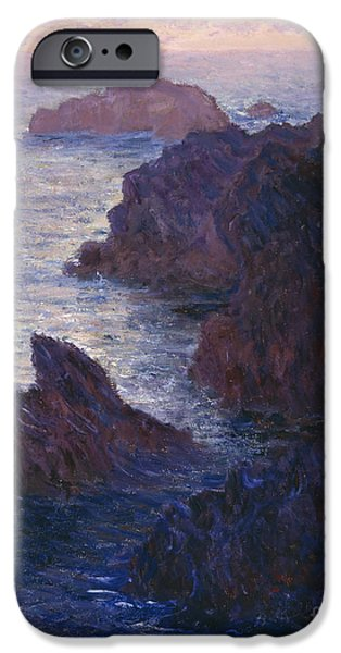 Sinister iPhone Cases - Rocks at Bell Ile Port Domois iPhone Case by Claude Monet