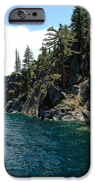 Snow Scene iPhone Cases - Rocks to Climb Lake Tahoe iPhone Case by LeeAnn McLaneGoetz McLaneGoetzStudioLLCcom