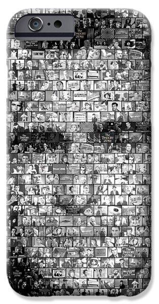 1960s iPhone Cases - Rod Serling Twilight Zone Mosaic iPhone Case by Paul Van Scott