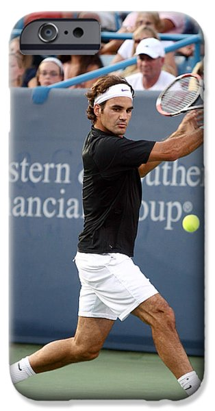 Tennis iPhone Cases - Roger Federer iPhone Case by Keith Allen