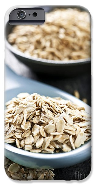 Oatmeal iPhone Cases - Rolled oats and oat groats iPhone Case by Elena Elisseeva