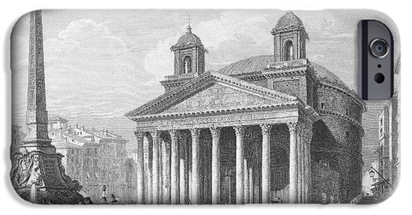 1833 Photographs iPhone Cases - Roman Pantheon, 1833 iPhone Case by Granger