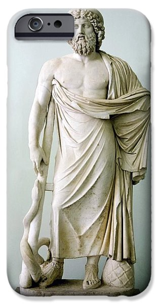 Statue Portrait iPhone Cases - Roman Statue Of Asclepius iPhone Case by Sheila Terry