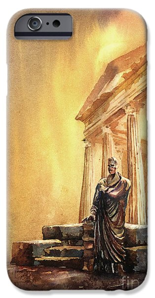 Ruin iPhone Cases - Roman statue- Tunisia iPhone Case by Ryan Fox