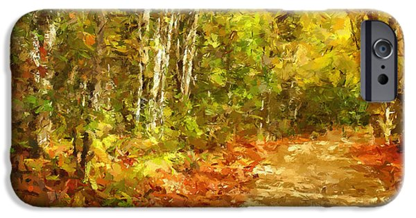 Autumn Landscape Mixed Media iPhone Cases - Romance In Autumn iPhone Case by Georgiana Romanovna