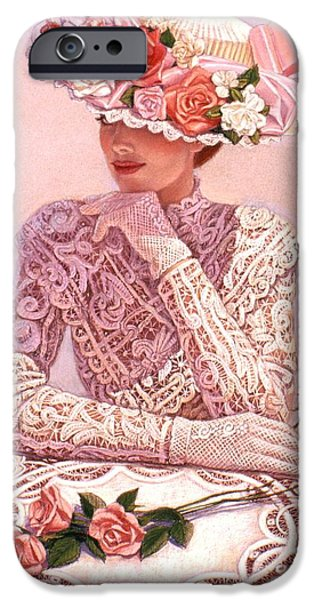 Lady Pastels iPhone Cases - Romantic Lady iPhone Case by Sue Halstenberg