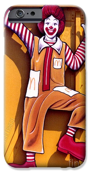 Cut-outs Paintings iPhone Cases - Ronald McDonald  iPhone Case by Cristophers Dream Artistry