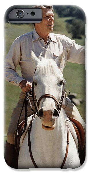 American History Mixed Media iPhone Cases - Ronald Reagan On Horseback  iPhone Case by War Is Hell Store