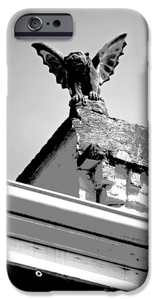 Statue Portrait iPhone Cases - Rooftop Gargoyle Statue above French Quarter New Orleans Black and White Conte Crayon Digital Art iPhone Case by Shawn O