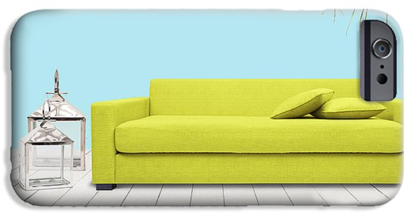 Furniture iPhone Cases - Room With Green Sofa iPhone Case by Atiketta Sangasaeng