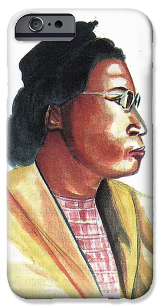 First Lady Paintings iPhone Cases - Rosa Parks iPhone Case by Emmanuel Baliyanga