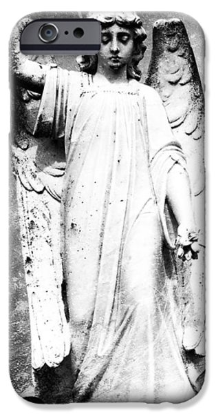 Cemetary Digital Art iPhone Cases - Roscommon Angel No 2 iPhone Case by Teresa Mucha