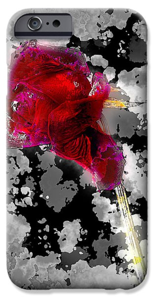 Abstract Digital Pyrography iPhone Cases - Rose iPhone Case by Mauro Celotti