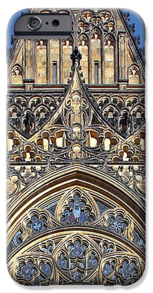 Rosette iPhone Cases - Rose Window - Exterior of St Vitus Cathedral Prague Castle iPhone Case by Christine Till