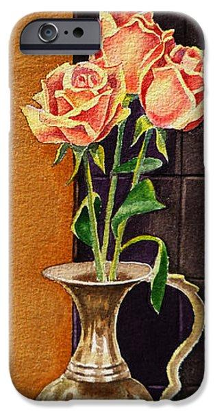 Design iPhone Cases - Roses In The Metal Vase iPhone Case by Irina Sztukowski