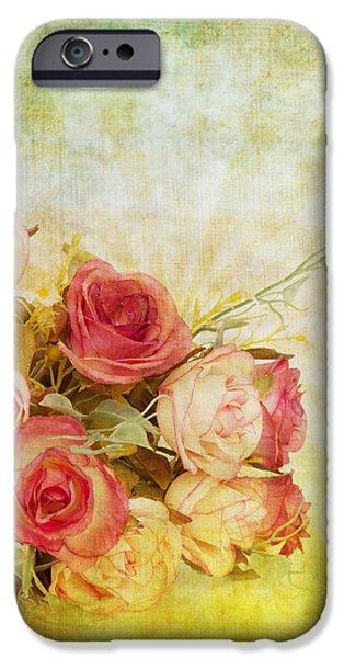 roses pattern retro design iPhone Case by Setsiri Silapasuwanchai
