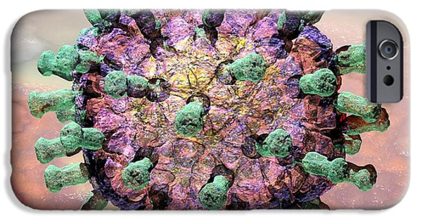 Microbiology Digital iPhone Cases - Rotavirus 2 iPhone Case by Russell Kightley