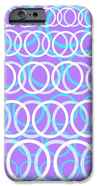 Circle Digital iPhone Cases - Round Cirlces iPhone Case by Louisa Knight