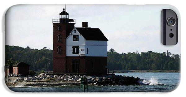 Flag iPhone Cases - Round Island Lighthouse iPhone Case by Ronald Grogan