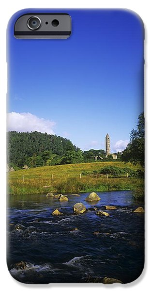 Round Tower And River In The Forest iPhone Case by The Irish Image Collection