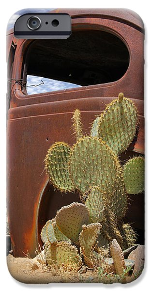Rusty iPhone Cases - Route 66 Cactus iPhone Case by Mike McGlothlen