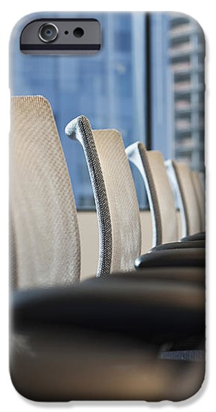 Row of Chairs and a Table in a Conference Room iPhone Case by Jetta Productions, Inc