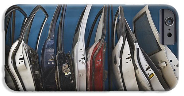 Dismantled iPhone Cases - Row of Dismantled Car Doors iPhone Case by Noam Armonn