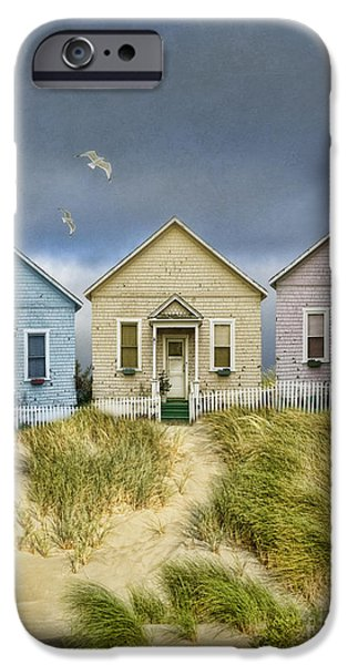 Flying Seagull iPhone Cases - Row of Pastel Colored Beach Cottages iPhone Case by Jill Battaglia