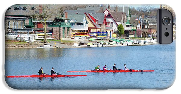 Boathouses iPhone Cases - Rowing Along the Schuylkill River iPhone Case by Bill Cannon
