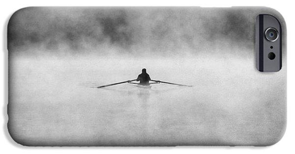 Canoe iPhone Cases - Rowing on the Chattahoochee iPhone Case by Darren Fisher