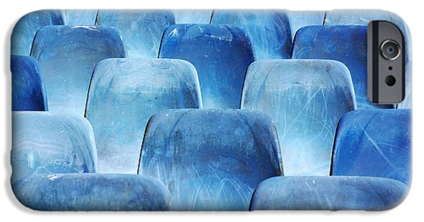 Dirty iPhone Cases - Rows of blue chairs iPhone Case by Carlos Caetano