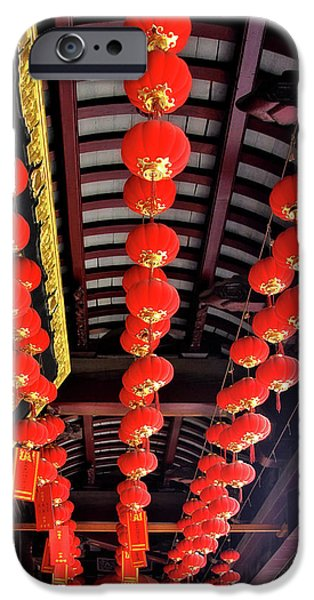 Rows of red Chinese paper lanterns - Shanghai China iPhone Case by Christine Till