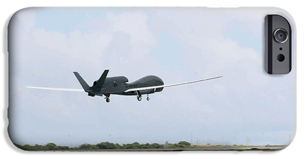 1st Base iPhone Cases - Rq-4 Global Hawks First Flight iPhone Case by Photo Researchers