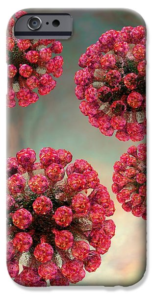 Biological Digital Art iPhone Cases - Rubella Virus Particles iPhone Case by Russell Kightley