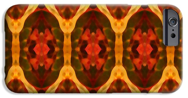 Abstract Digital Art Paintings iPhone Cases - Ruby Glow Pattern iPhone Case by Amy Vangsgard