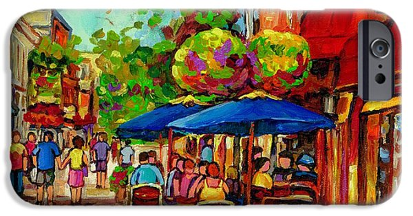 Cityscenes Paintings iPhone Cases - Rue Prince Arthur Montreal iPhone Case by Carole Spandau