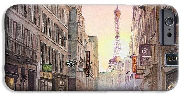 Paris Paintings iPhone Cases - Rue Saint Dominique Paris France View On Eiffel Tower Sunset iPhone Case by Irina Sztukowski