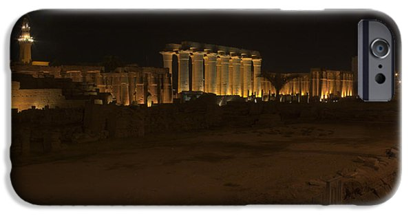Karnak iPhone Cases - Ruins at Karnak at night iPhone Case by Darcy Michaelchuk