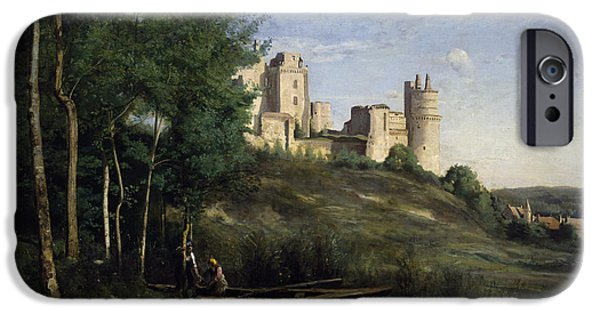 Mansion iPhone Cases - Ruins of the Chateau de Pierrefonds iPhone Case by Jean Baptiste Camille Corot