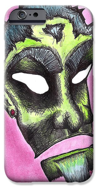 Creepy Drawings iPhone Cases - Rukus iPhone Case by Jera Sky