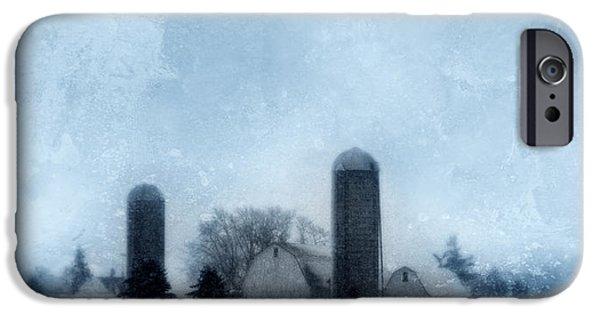 Wintertime iPhone Cases - Rural Farm in Winter iPhone Case by Jill Battaglia