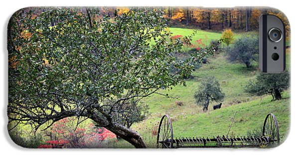 Nature Scene iPhone Cases - Rural Vermont Scenic-Hayrake on the Pasture   iPhone Case by Thomas Schoeller