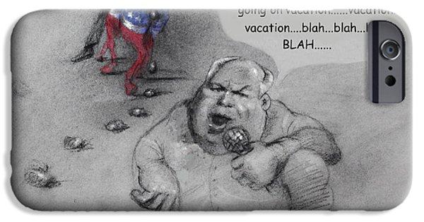 Barack Obama Mixed Media iPhone Cases - Rush Limbaugh after Obama  iPhone Case by Ylli Haruni
