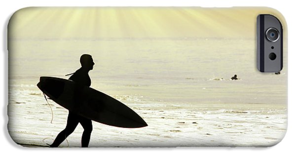 Surf Silhouette iPhone Cases - Rushing Surfer iPhone Case by Carlos Caetano